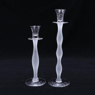 """ANNE NILSSON. ljusstakar, glas,  2 st, """"Celeste"""", Orrefors."""