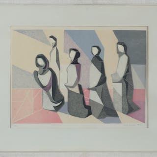 ERIK OLSON. Religöst motiv, färglitografi, signerad och daterad 1953