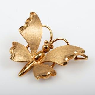BROSCH i form av fjäril, 9 K guld.