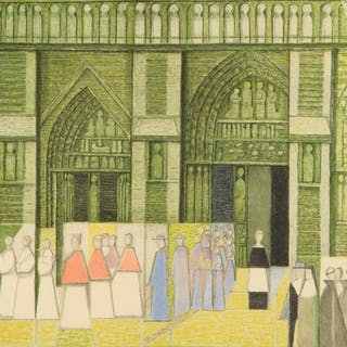 """ERIK OLSON. """"Processionen"""", litografiskt tryck, onumrerad, signerad 1952."""