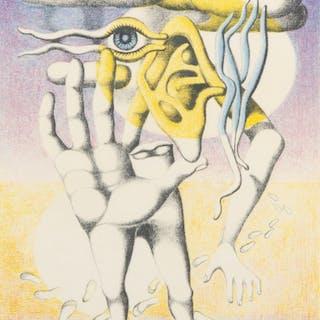 """ERIK OLSON. """"Sökaren"""", färglitografi, numrerad 195/310, signerad 1973."""