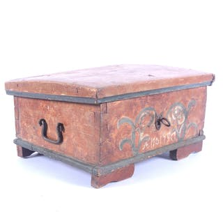 SKRIN, allmoge, bemålat trä, 1800-tal.