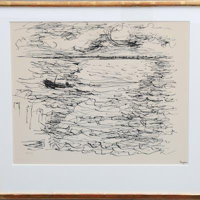 """JEAN BAZAINE. """"LEVER DU SOLEIL"""", 1957."""