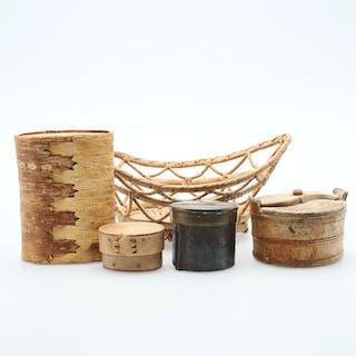 NÄVERASKAR, 5 delar, trä/metall, allmoge, 1900-tal.