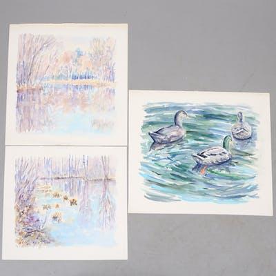 NIKLAS ARONSSON. 3 st, akvarell, Gemlamotiv, signerade.