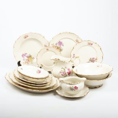 MATSERVIS, 57 delar, porslin, blomsterdekor, Edelstein.