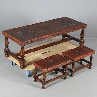 BORD samt SIDOBORD,3 delar, trä/pressat läder, sydamerika, 19/2000-talet.