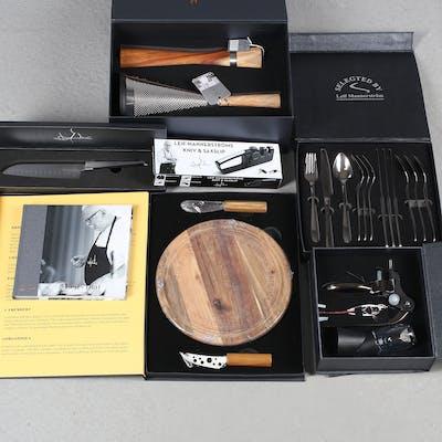 LEIF MANNERSTRÖM. Allt för köket, 6 originallådor och kokbok, knivar