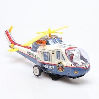 """PLÅTLEKSAK """"Super Flying Police Helicopter, TPS, Japan 1960-tal."""