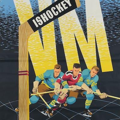 AFFISCHER,  2 st, FotbollsVM 1958, Ishockey VM 1954.