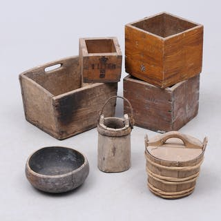 ALLMOGE, trä, 7 delar, låda, krönta mått mm.