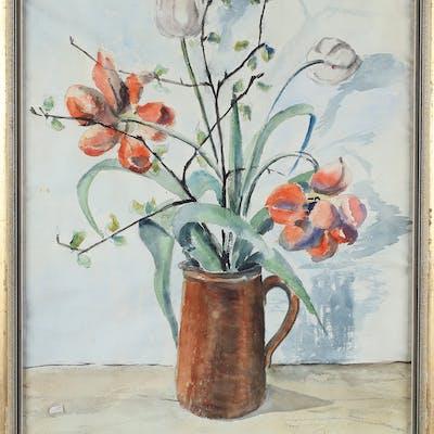 OIDENTIFIERAD KONSTNÄR. blomsterstilleben, Akvarell, signerad, 1943.