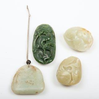 FIGURINER, 4 stycken, snidad jade, Kina.