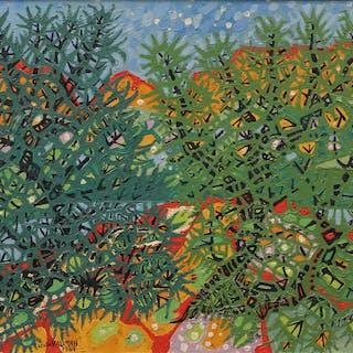 UNO VALLMAN. Träd i landskap, olja på pannå, signerad och daterad 1961.
