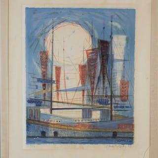 CARLO ROSBERG. Faryg i hamn, färglitografi, signerad och daterad -63