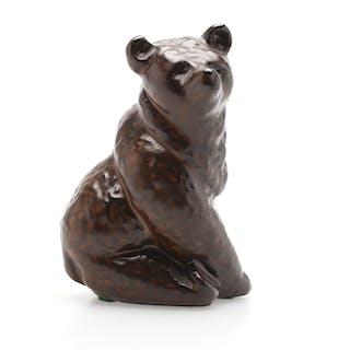 FIGURIN, keramik, i form av björn, troligen Ester Wallin, Upsala-Ekeby