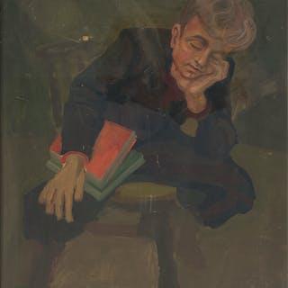 BENDIK RIIS (1911-1988). Porträtt av pojke, olja på pannå.