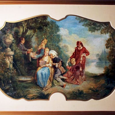 Nicolas Lancret Circle French old master painting HUGE