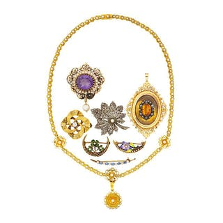 20TH C. GEM-SET BROOCHES & NECKLACE