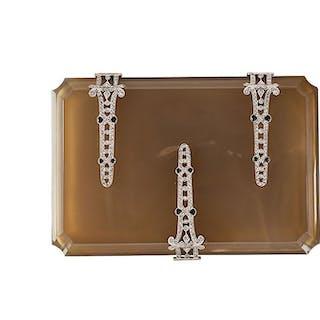 ART DECO AGATE, DIAMOND & PLATINUM CIGARETTE CASE