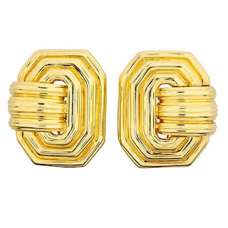 HENRY DUNAY YELLOW GOLD EAR CLIPS