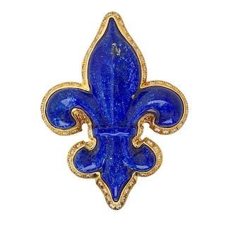 LAPIS & YELLOW GOLD FLEUR-DE-LIS PENDANT BROOCH