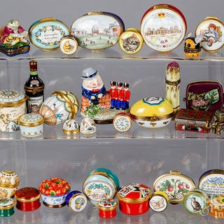 Collection of porcelain and enamel dresser boxes