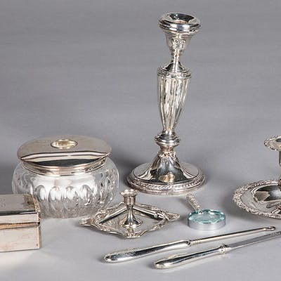 Sterling silver mounted and weighted table articles