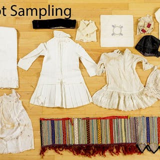 Group of linens and clothing