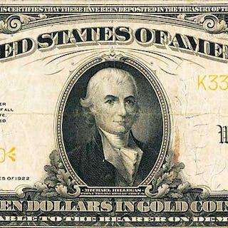 U.S. 1922 $10 GOLD CERTIFICATE