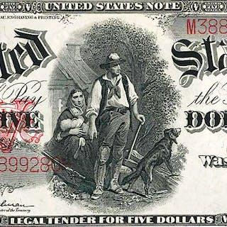 U.S. 1907 $5 LEGAL TENDER WOODCHOPPER NOTE