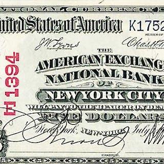 U.S. 1902 $5 AMERICAN EXCHANGE NATIONAL BANK OF NEW YORK