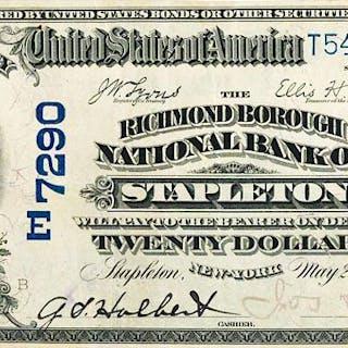 U.S. 1902 $20 RICHMOND BOROUGH NATIONAL BANK OF STAPLETON, NEW YORK
