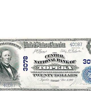 U.S. 1902 $20 CENTRAL NATIONAL BANK OF TOPEKA