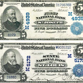 GROUP OF U.S. 1902 LARGE SIZE NATIONAL NOTES