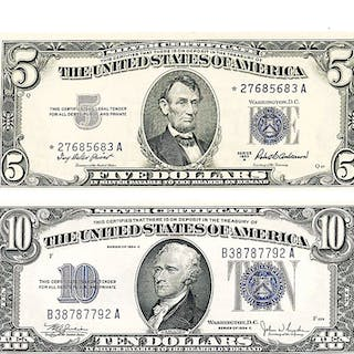 U.S. SMALL SIZE $5 AND $10 SILVER CERTIFICATES
