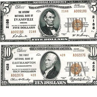 GROUP OF U.S. 1929 SMALL SIZE NATIONAL NOTES