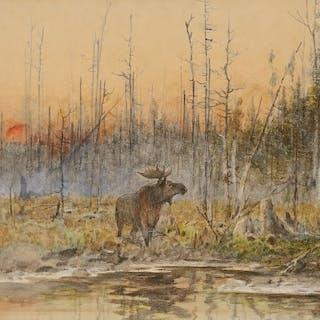 John Fery (1859–1934): Sunset over the Lake