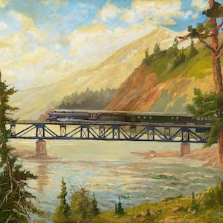 John Fery (1859–1934): Smith River Train – Northern Pacific