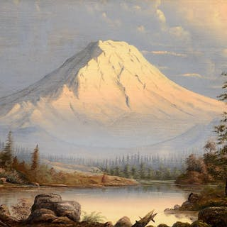 William Samuel Parrott (1843–1915): Evening, Mt. Rainier; Sunset, Mt. Hood