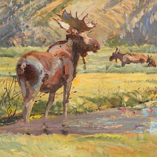 Robert Lougheed (1910–1982): Moose on the Gallatin River