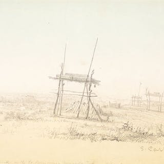 Seth Eastman (1808–1875): Burial Grounds [or] Indian Grave; Moccasins