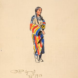 Charles M. Russell (1864–1926): Indian Woman; Logger