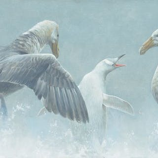 Robert Bateman (b. 1930): Giant Petrels and Albino Gentoo Penguin (2000)