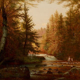 Worthington T. Whittredge (1820–1910): Fishermen in a Wooded Landscape