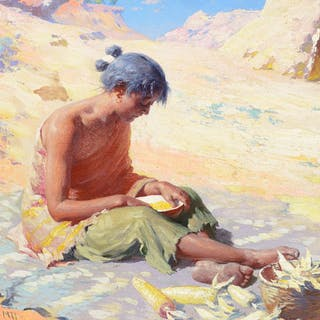 William R. Leigh (1866–1955): Navajo Girl Preparing Corn (1911)