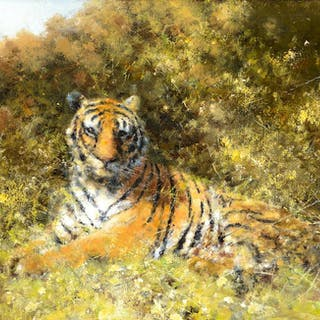 David Shepherd (1931–2017): Tiger in the Bushes (2011)