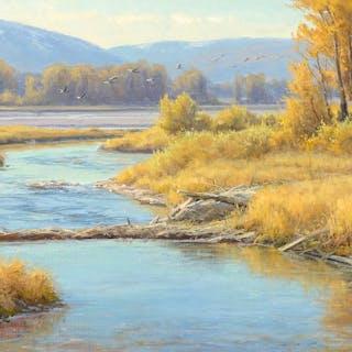 Clyde Aspevig (b. 1951): River Scene