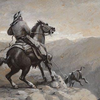 Alexander F. Harmer (1856–1925): Roping a Steer; Rustic House in Landscape;