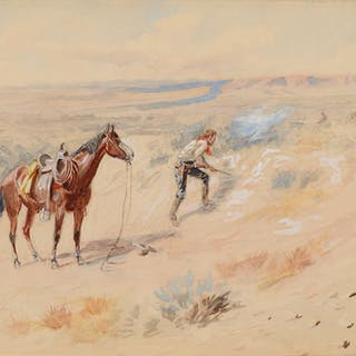 Charles M. Russell (1864–1926): Man Hunting Antelope (1902)
